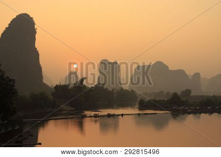 Sunrise Landscape Of Guilin Karst Mountains. Yangshuo, Guilin, Guangxi, China.