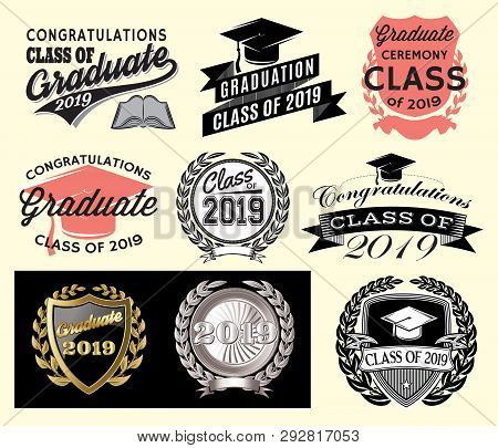 Graduation Vector Set Class Of 2019 Congrats Grad Congratulations Graduate.