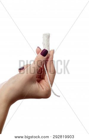 Young Female Hand With Tampon Isolated On White Background