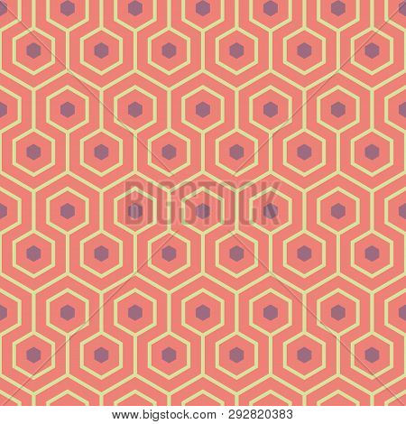Orange, Purple, Yellow Green Meandering Geometric Hexagons. Seamless Vector Pattern With Hot Summer