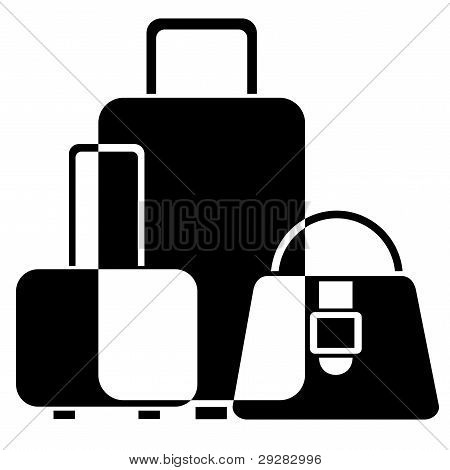 vector black and white icon of luggage poster