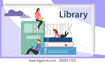 Book Library Concept Banner With Characters. Media Book Library Concept. E-book, Reading An Ebook To