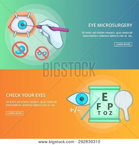 Eye microsurgery banner set template. Cartoon illustration of banner set template for any web design poster