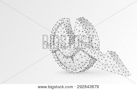 Broken Coin Symbol With Downtrend Arrow. Origami 3d Illustration. Polygonal Vector Business, Money,
