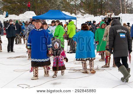 Russkinskaya, Surgut, Russia, 03/23/2019: Open Traditional Holiday Of Reindeer Herders And Fishermen