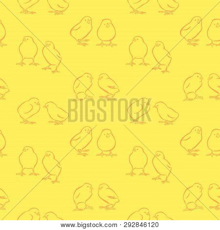 Happy Easter Day Seamless Background. Vector Cute Yellow Chickens. Decorative Hand Drawn Chicks Patt
