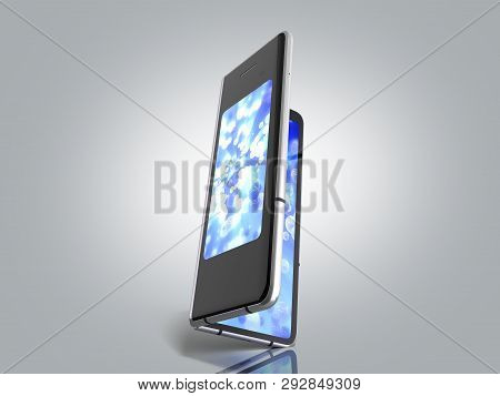 First Serial Foldable Phone 3d Render On Grey Background