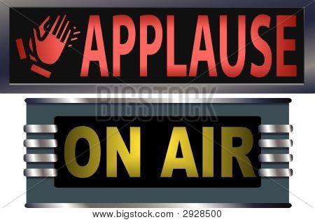 No Teatro de Appluse de ar Signs.Eps de radiodifusão