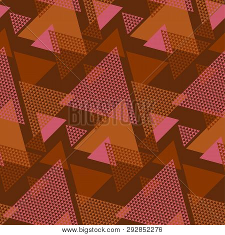 Geometric Textured Triangle Minimal Seamless Pattern. Clay Brown Geometry Shapes Repeat Motif. Simpl