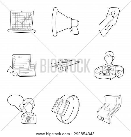 Seminar Icons Set. Outline Set Of 9 Seminar Icons For Web Isolated On White Background
