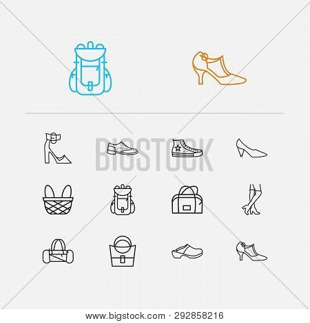 Accessory Icons Set. Chunky Heel And Accessory Icons With Knee High Boots, Converse Shoes And Oxford