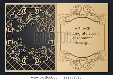 Design Letterhead Greetings For Laser Paper Cutting. Openwork Cartouche On The Cover. Decorative Fra