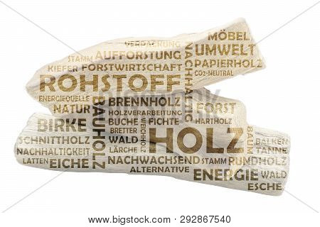 Word Cloud With Three Pieces Of Wood And Keywords On The Subject Of Raw Material Wood. Translation O