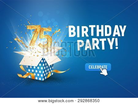 75 Th Years Anniversary Banner With Open Burst Gift Box. Template Seventy Five Birthday Celebration
