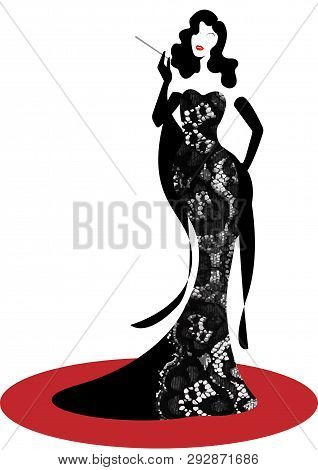 Shop Logo Fashion Woman Silhouette Diva. Company Brand Name Design, Beautiful Luxury Cover Girl Retr