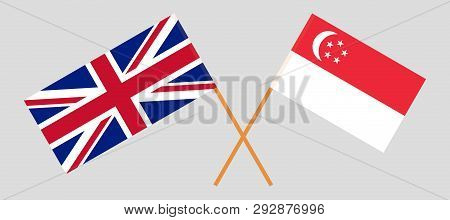 Singapore and UK. The Singaporean and British flags. Official colors. Correct proportion. Vector illustration poster