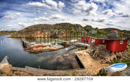 Typical small swedish west coast fishing village in Sweden. poster