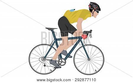 Cyclist In Helmet - Racing Bike - Isolated On White Background - Flat Style - Vector