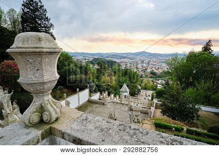 Braga, Portugal - March 31, 2019: View Of The City From The Stairs Of The Sanctuary Of Bom Jesus Do
