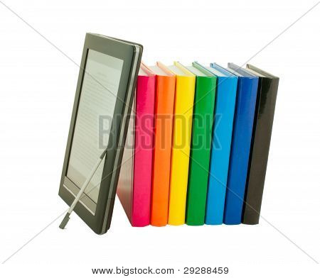 Stack Of Colorful Books And Electronic Book Reader