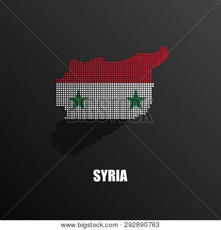 Vector Illustration Of Abstract Halftone Map Of Syria Made Of Square Pixels With Syrian National Fla