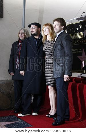 LOS ANGELES - JAN 23: Jerry Bruckheimer; Marg Helgenberger (far right) at a ceremony where Marg Helgenberger is honored with a star on the Hollywood Walk of Fame on January 23, 2012 in Los Angeles, California
