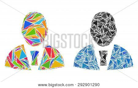 Triangle Mosaic Office Clerk Icons United From Triangle Items In Variable Sizes, Positions And Propo