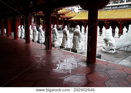 Nagasaki, Japan - May 25, 2018: 72 Followers Statues Of Confucius Temple, The Worlds Only Confucian