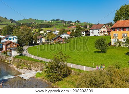 Appenzell, Switzerland - September 20, 2018: The Town Of Appenzell In Autumn. The Town Of Appenzell