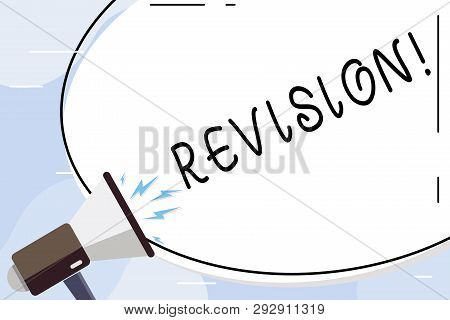 Conceptual hand writing showing Revision. Business photo text Rechecking Before Proceeding Self Improvement Preparation Oval Shape Sticker and Megaphone Shouting with Volume Icon. poster