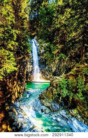 The Turquoise Waters Of Cascade Falls In Cascade Falls Regional Park Between The Towns Of Mission An