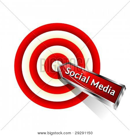 Social Media Concept. Red dart hitting a target. Vector sign.