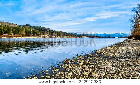The Fraser River On The Shore Of Glen Valley Regional Park Near Fort Langley, British Columbia, Cana