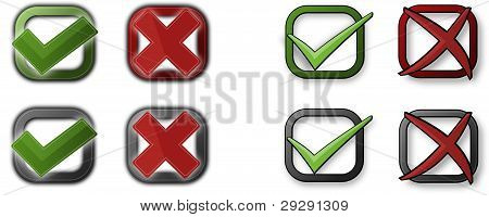 Tick and cross sign