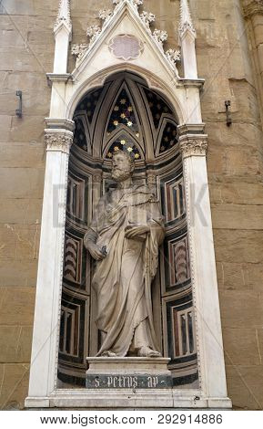 FLORENCE, ITALY - JANUARY 09, 2019: Saint Peter by Filippo Brunelleschi , Orsanmichele Church in Florence, Tuscany, Italy