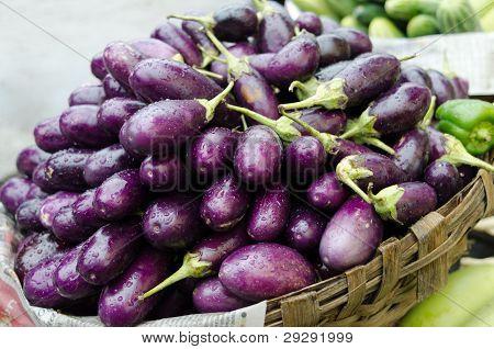 Eggplant purple on a market