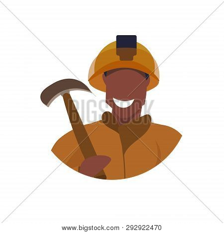 Male Miner Holding Pick Axe Face Avatar Happy Man In Orange Uniform Professional Occupation Concept