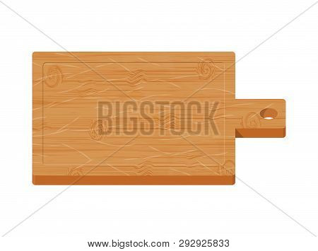 Wooden Cutting Board On White Background. Kitchen Board For Food. Vector Illustration In Flat Style