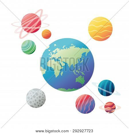 planets of the solar system isolated icon vector illustration design poster