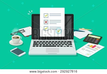 Online Form Survey On Laptop Vector Illustration, Working On Computer Quiz Exam Paper Sheet Document