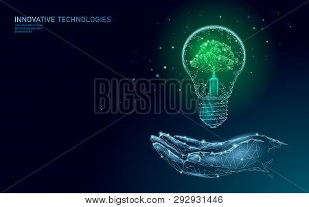 Hand Holding Light Bulb Lamp Saving Energy Ecology Concept. Polygonal Light Blue Sprout Small Plant