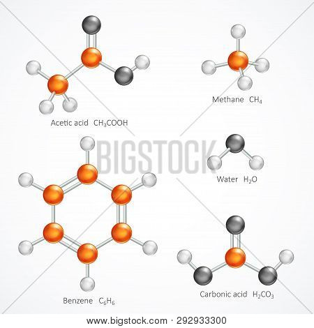 Illustration Of 3d Molecular Structure, Ball And Stick Molecule Model Acetic Acid, Methane, Water, B
