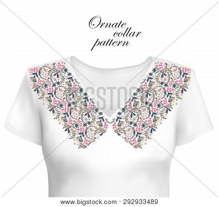Neckline Ethnic Design. Floral Colorful Traditional Pattern. Vector Print With Decorative Elements F