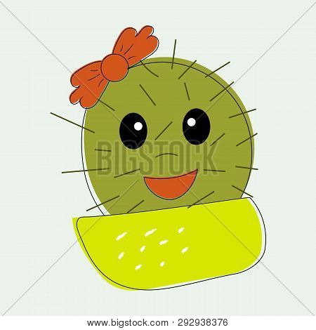 Fun Simple Naive Cute Cactus Girl With Red The Bow Flower On The Head In Yellow Pot.for Decoration O