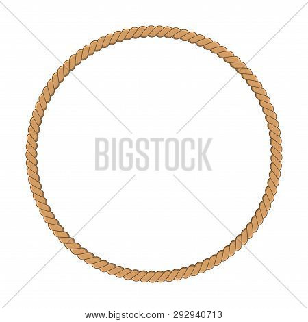 Round Rope Frame In Marine Style. Yellow Rope Woven Circle Border. Template Design For Invitation, F