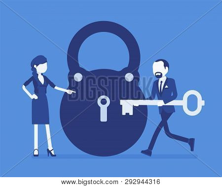 poster of Lock and key, business problem solving and decision making metaphor. Man and woman ready to open, unlock a secret method, formula or process, find answer. Vector illustration and faceless characters