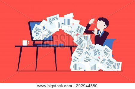 Paper Avalanche For Businessman. Male Office Worker Overloaded With Paperwork From Computer, Heap Of