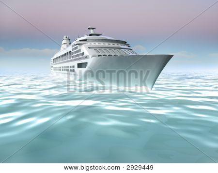 Illustration Of Cruise Ship At Sea