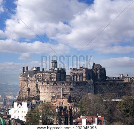 Famous Edinburgh Castle With City In Scotland