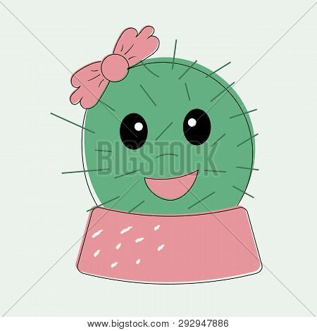 Funny Simple Naive Cute Cactus Girl With Pink The Bow Flower On Head In Pot Skirt.for Decoration Of
